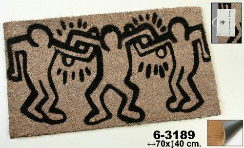 Felpudos Frikis de fibra de coco decorado con bailarines en color beige