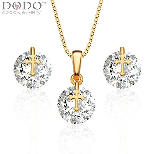 Fashion Cross Crystal Necklace Earrings Trendy 18K Gold Plated Zircon Jewelry Set Women Party Gift S20069