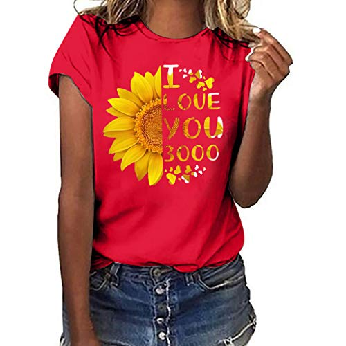 CUTUDE Bluse Sommer Damen Plus Size Sonnenblume Drucken Kurzarm T Shirt Bluse Tops (Rot, X-Large)