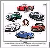 Kunstdruck klassische MG-Fahrzeuge–– MGA, MGB, MGC, Midget, Magnette & MG TF.