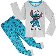 Disney Stitch Pijama Niña, Pijamas Niños Invierno, Conjunto 2 Piezas Camiseta Manga Larga y Pantalon, Regalos