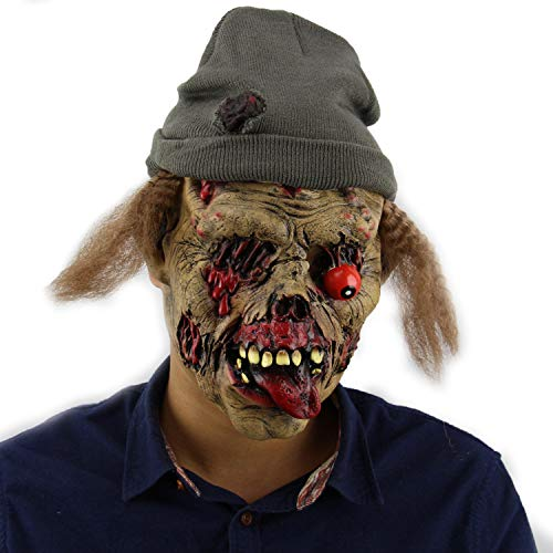 XINLAI Neuheit Halloween High Simulation Terrorist Latex Maske Und Hut Zombie Grave Keeper Horror-Vollmaske Halloween Ghost Festival - Monster High Ghost Kostüm