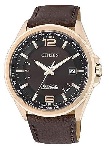 Citizen Herren-Armbanduhr XL Funkuhren Analog Quarz Leder CB0017-03W