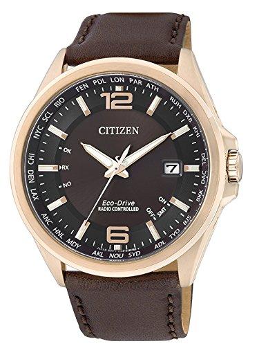 Citizen Funkuhren CB0017-03W - Reloj para hombres, correa de cuero color marrón