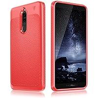 Huawei Mate 10 Lite Hülle, aus stoßsicheren & flexiblen Material mit einzigartiger Lederstruktur, hochwertige und robuste Smartphone Schutzhülle, ultra dünn & leicht (rot)