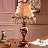 GUTOU-TD Tischlampe 31X50 Cm Retro Stil Tischlampen Quaste Tuch Lampenschirm Tischlampe Für Wohnzimmer Tischlampe E27, Braun, Warmweiß