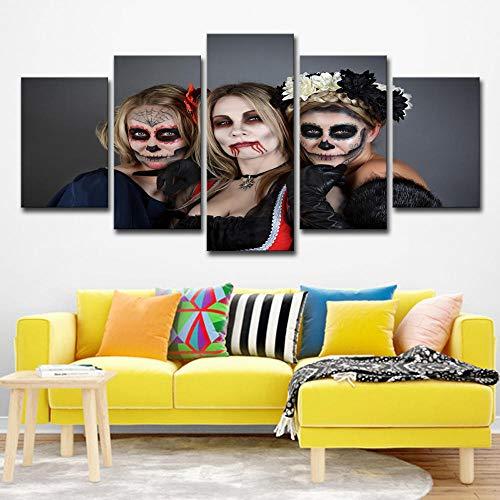 Leinwanddrucke 5 Stücke Tag Der Toten Gemälde Poster Dekoration Wohnzimmer Kein Rahmen Größe C (Tag Der Toten Poster)
