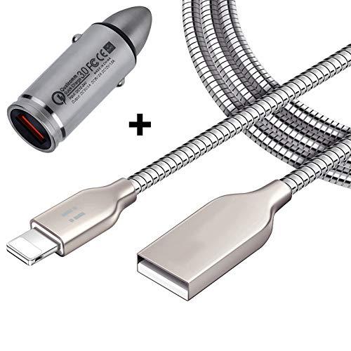 [i!®] KFZ Auto Schnellladegerät + 1m USB Ladekabel Datenkabel Ladeset für [Apple iPhone XS/XS Max/XR/X/8/8Plus/7/7Plus/6S/6SPlus/6/6Plus/5S/5C/5/SE   iPad   iPod] Silber