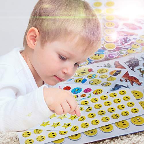 Aufkleber für Kinder, Haice Stickerbögen kinder / 3D geschwollene Aufkleber / 3D Puffy Aufkleber aus 800, 15 Stickerbögen für Kinder & Babys umfasst Dinosaurier,Autos,Zoo,Herz,Zahlen und Buchstaben.