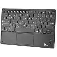 1byone Ultra-delgado teclado bluetooth con una función de multi-touchpad y batería recargable, QWERTY español,Negro