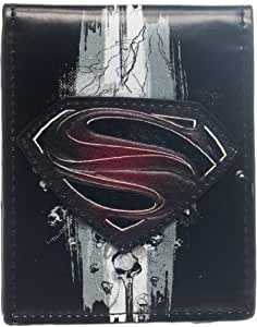 Man of Steel Embroidered Logo Black Bi-Fold Portefeuille