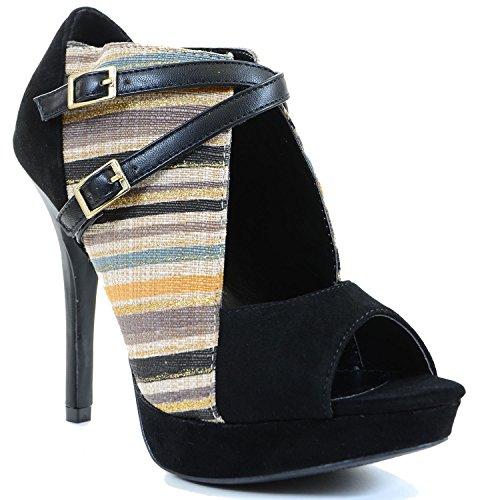 Fourever Funky Damen Vegan Stripe Woven Peep-Toe-Ausschnitt Strappy Heels, Schwarz - Schwarz - Größe: 39.5 (Pelz-wildleder-plattformen)