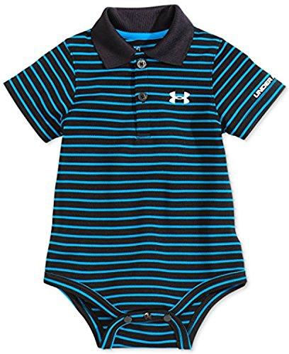 Under Armour Baby-Boys Newborn Polo Yarn Dye. Bodysuit, Black, 6-9 Months (Micro-piqué Polo)