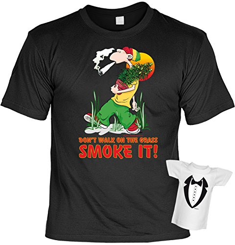 lustiges Funshirt + Mini Shirt Motiv - Don t walk on the grass - Smoke it! - witzige Geschenkidee Geburtstag Geschenk Sprüche Weihnachten Schwarz