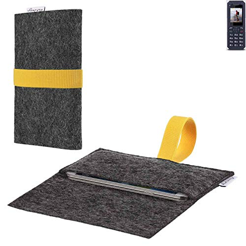 flat.design vegane Handy Hülle Aveiro für bea-fon AL250 passgenaue Filz Tasche Case Sleeve Made in Germany