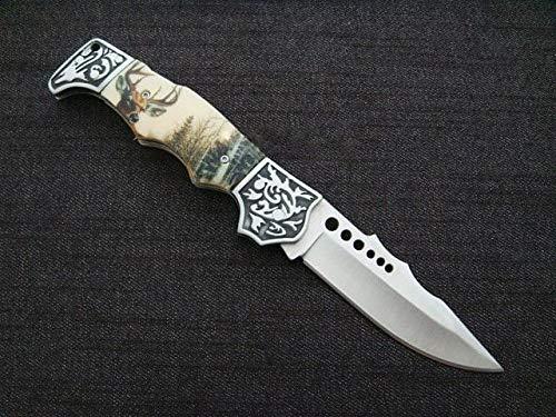 KOSxBO® wunderschönes Waidmannsheil Jagd Taschenmesser Klingenläne ca. 9 cm - Klappmesser - Faltmesser - Dear Hunter Knife mit Hirsch Motiv -