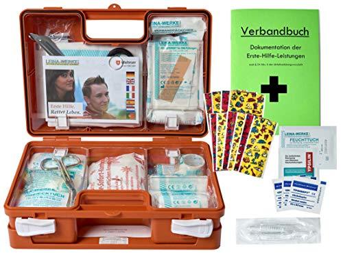 Erste-Hilfe-Koffer Kita incl.Hygiene-Ausstattung nach DIN 13157 für Betriebe + DIN/EN 13164 für KFZ - mit Verbandbuch & Wundreinigung -