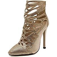 GS~LY Bene con i tacchi a punta dorate alte scarpe con stivali cool stencil di strass , gold , 40