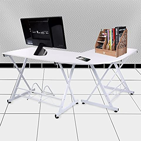 LUCKYKS L-Shaped Desk Corner Computer Desk PC Latop Study Table Workstation for Home Office, Beech &