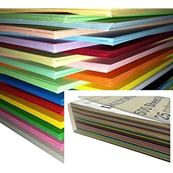 250 feuilles Papier Cartonné / Carte / Carton A4 160gm de couleur - Assortiment de 25 couleurs