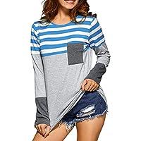 Damen Langarm T-Shirt Oberteile Frauen Lose Pullover Lange Ärmel Streifen Shirt Tops Bluse