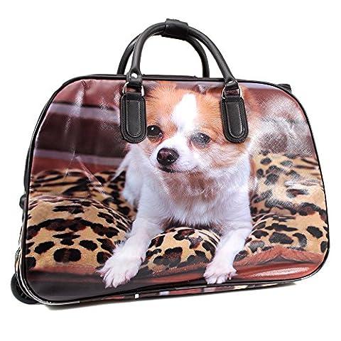 YourDezire , Herren Mädchen Damen Unisex Erwachsene Koffer braun Brown/Dog