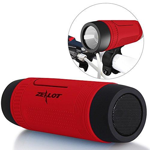 ZEALOT S1 Kabelloser Bluetooth Lautsprecher mit Micro SD Slot, Taschenlampe, Aux-Anschlusss und Powerbank, kompatibel mit Smartphones und Bluetooth Geräten (Rot)