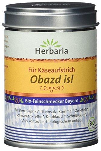 """Herbaria """"Obazd is!"""" Gewürzmischung für Obazda, 1er Pack (1 x 90 g Dose) - Bio"""