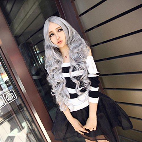 80cm Lange Wellte lockige Haare Perücken Wie reale Menschenhaar Pony Cosplay Kostueme Manga Schaufensterpuppen Grau (Langes Lockiges Haar Kostüme)