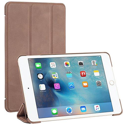 Ipad Covers 4 Echt Leder (StilGut Couverture Case, Apple iPad mini 4 Hülle aus feinstem Leder für Apple mini 4, cognac vintage)