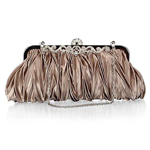 Swallowuk Damen Falten Abends Packs Kleider Kupplung Satin Handtaschen Dekorative Geldbörse (Bronze) (Bronze-abend Handtasche)