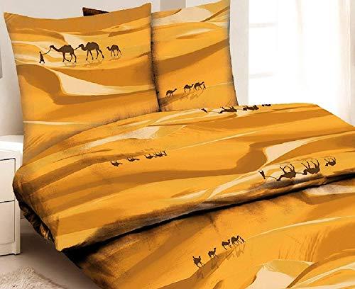 3 Teilig BETTWÄSCHE Set Microfaser Bettbezug Übergröße 200x200cm Kopfkissen 2x 80x80cm TOP Qualität NEU Tier Kamel Muster Afrika Modern Klassisch & Elegant Beige Sand Wüste 3tlg 200 x 200 cm Sahara (200 Top Klassische)
