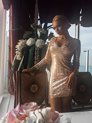 Missord - mini abito da cocktail da donna, in poliestere, con paillettes Gold