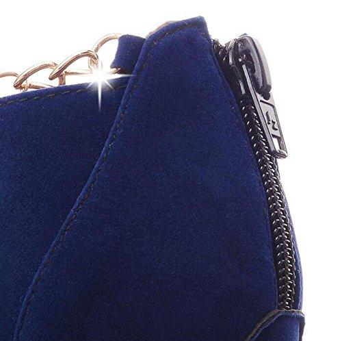 Beauqueen Lita Suede Autunno Inverno Piattaforma Mandorla A forma di punta Stiletto Tacco Alto Casual Warm Femminile Chiusura lampo Customized Europe Size 32-43 Blue