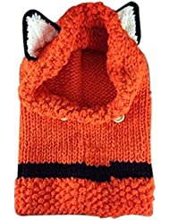 Tongshi Lana de invierno de punto Gorras Fox Sombreros Niñas bebés Chales capucha capucha Beanie