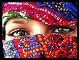 1art1 Frauen Poster Kunstdruck und MDF-Rahmen Schwarz - Arabische Augen (80 x 60cm)