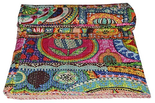 indischen Patch Work Baumwolle Kantha Quilt Queen Tagesdecken Überwurf Decke (Multi Floral) Bohemian Tagesdecke, Bohemian Betten, handgefertigt kantha Steppdecke -
