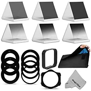 Complete ND Neutral Density Filter Set Compatible with Cokin P Series - Includes: Graduated ND2 ND4 ND8 + Full ND2 ND4 ND8 Filters + 6 Pocket Filter Wallet Case + Square Filter Holder + Square Lens Hood + Complete Adapter Ring Set + MagicFiber Microfiber Lens Cleaning Cloth Consumer Portable Electronics/Gadgets