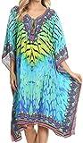 Questo abito poncho è un abito di lunghezza media e può anche essere indossato come top camicetta di grandi dimensioni o lungo / alto. È fatto di un tessuto in poliestere molto leggero e opaco con una bella stampa etnica tribale e recinzione ...