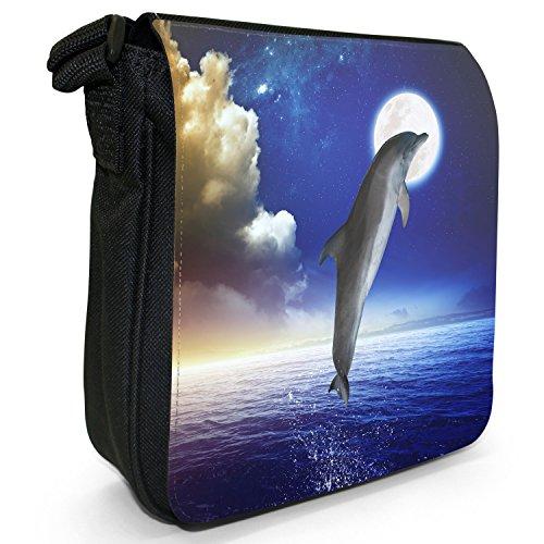 Delfini piccolo nero Tela Borsa a tracolla, taglia S Dolphin Jumping At Full Moon