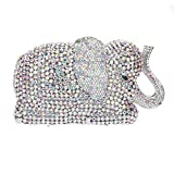 Bonjanvye Crystal Rhinestone Elephant Clutch Purse for Wedding Party AB Silver