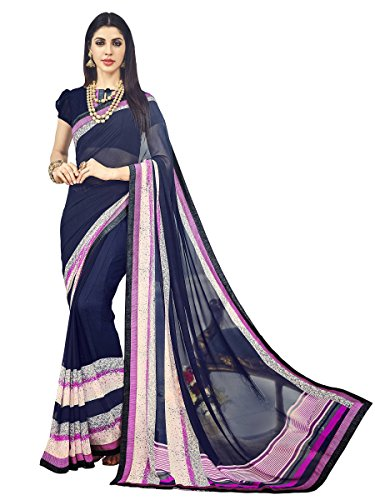 EthnicJunction Plain Line Laced Georgette Saree With Plain Soft Shimmer Laced Blouse...