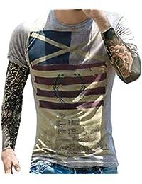Camisas de Hombre Manga Corta,Moda hombres personalidad bandera casual Slim manga corta camiseta Tops blusa LMMVP (XXL,…