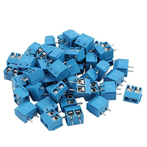 Comomingo 100 STÜCKE KF301-2P 5,08mm Pitch 2 Pin Plug-in-PCB-Schraube Block Steckverbinder (blau) Digital-multimeter Plug-in