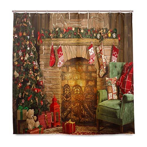 minbaum Badezimmer Duschvorhang, Innenausstattung, Strümpfe, Geschenkstoff, schimmelresistent, Wasserdichte Badewannen-Vorhänge mit 12 Haken, 183,0 cm x 183,0 cm ()