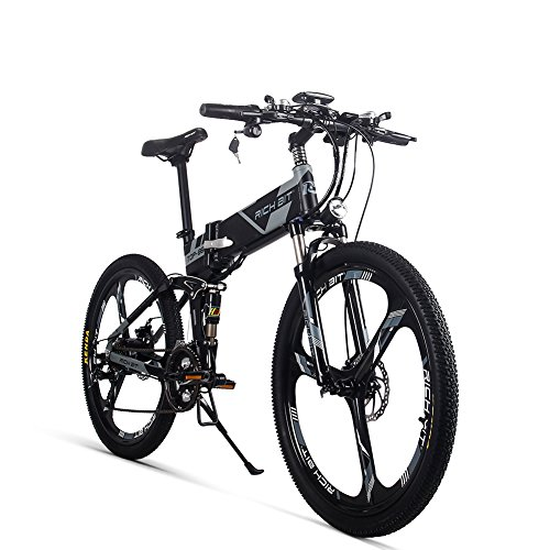 51PJUZkdiQL. SS500  - RICH BIT Electric Bicycle 250W 36V 12.8Ah Lithium Battery Folding E-bike LCD Display Smart Mountain Bike Gray