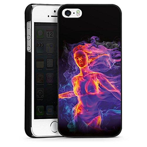 Apple iPhone 4 Housse Étui Silicone Coque Protection Feu Feu Femme CasDur noir