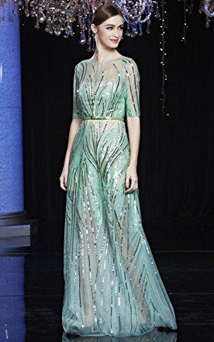 Beauty-Emily See-Through Pailletten Rundhalsausschnitt-halbe Hülsen-Gürtel Nacht Abendkleider Gold