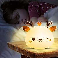 Veilleuse Enfant,Veilleuse Bebe Fille Cerf,Veilleuse Prise Electrique Led Rechargeable,Lampe Portable Multicolore…