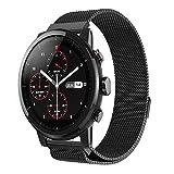 LCLrute Mode Hohe Qualität Neue Mode Magnetische Edelstahl Smartwatch Band Für Huami Amazfit 2 GPS BK (Schwarz)